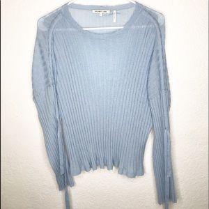 HELMUT LANG Blue Wool Boat Neck Blouse Top Size L